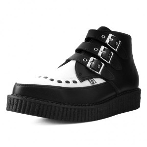 T.U.K. Shoes Black & White Vegan Leather Buckled Pointed Boots