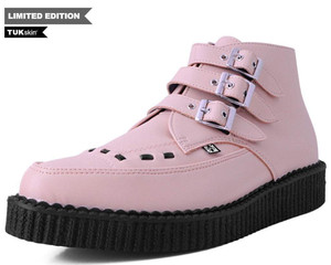 T.U.K. Pink Vegan Leather 3 Buckle Pointed Creeper Boots
