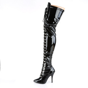 Thigh High D-Ring Laced Stiletto Boots