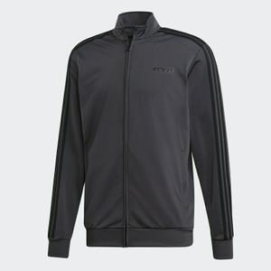 Adidas Essentials 3-Stripe Solid Gray Tricot Track Jacket