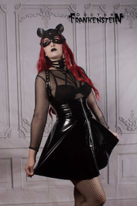Fetish Goth Black Patent Skirt with Suspenders