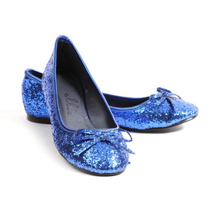 Blue Glitter Princess Flat Shoes