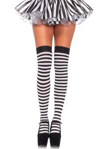 White & Black Striped Nylon Thigh Highs