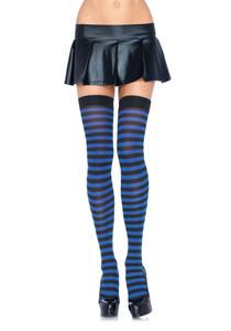 Black & Royal Blue Striped Nylon Thigh Highs