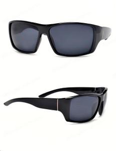Black Biker Oval Sunglasses