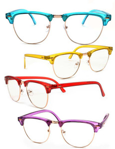 Classic Color Half Frame Wayfarer Glasses