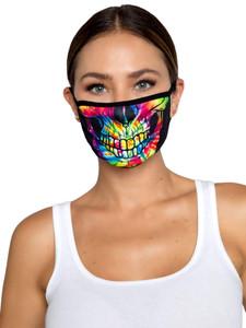 Tie Dye Skull Face Mask