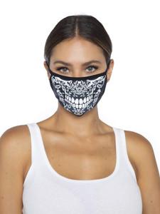Lace Print Skull Face Mask