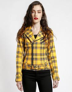 Wild Child Yellow Plaid Biker Jacket