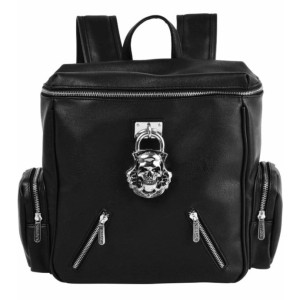 Lock Me Up Backpack with Skull Detail