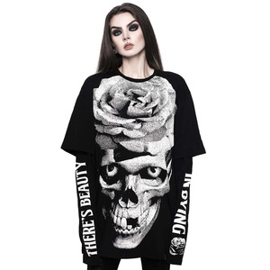 Dead Rose Double Sleeve with Skull Print T-shirt
