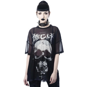 Fearless Mesh with Skull Print T-shirt