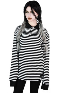 White Damon Collar Striped Top