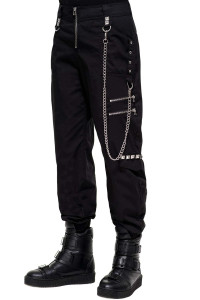 Super Charged Black Darkwve Cargo with Wallet Chain Pants