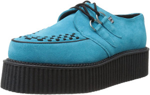 A8432 Turquoise Suede Leather Mondo Sole Creepers