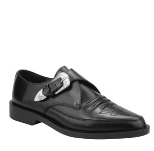 A8652 Black Western Buckle Pointed Toe Creepers