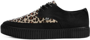 A9418L Pointed Black & Leopard Sneakers