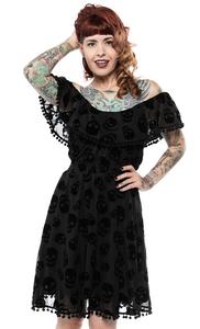 Black Ruffle Lust For Skulls Fiesta Dress
