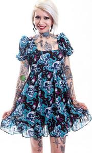 Dead Sea Cream Puff Dress with Skull Print