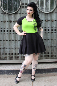 Stretchy Nokturnal Bats Green Skater Dress