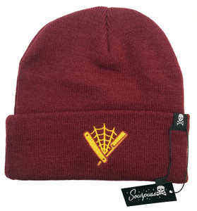 Embroidered Straight Razor Knit Hat