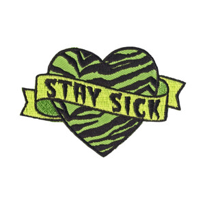 Embroidered Stay Sick Heart Patch