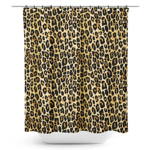 Printed Brown Leopard Shower Curtain