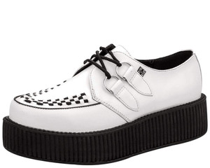 V6803 White Leather D-Ring Interlace Creepers
