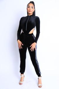 Black Velvet Jogger Bodysuit