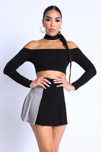 Off-Shoulder Black Choker Top & Skirt Set