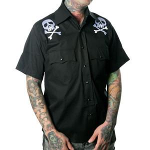 Emroidered Harlock Skull X Bones Western Shirt