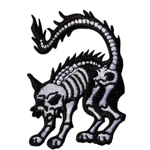 White X-ray Cat Mini Embroidered Patch
