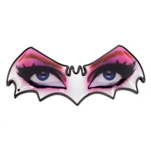 Metallic Elvira Bat Eyes Enamel Pin