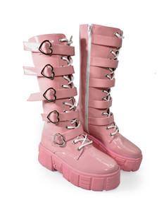 Heart Shaped Buckles Pink Long Platform Boots