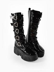 Heart Shaped Buckles Black Patent Long Platform Boots