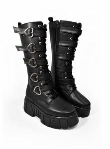 Heart Shaped Buckles Black Leather Long Platform Boots