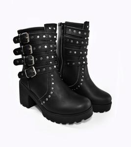 Black Studded Leather Vuvalini Girls Buckle Boots