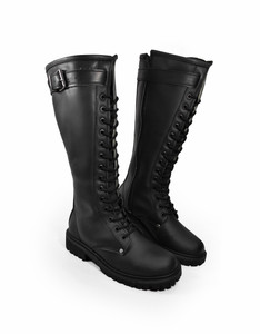 Black Leather Imperator Girls Combat Boots