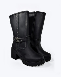 Black Leather Tanker Girls Engineer Boots