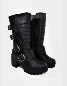 Black Leather Valkyria Girls Buckle Boots
