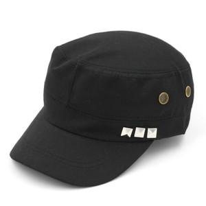 Black Studded Military Cap