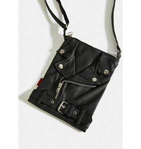 Black Leather Motorjacket Purse