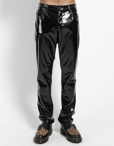 Black Vinyl Straight Pants