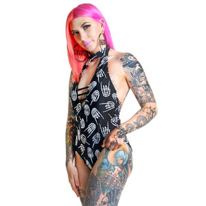 Printed Skeleton Hands One Piece Swimsuit