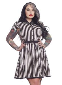 Cream & Black Striped Lydia Dress