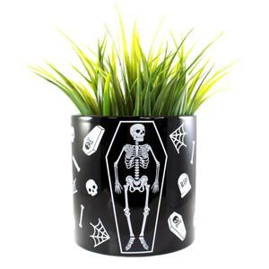 Black Skeleton Ceramic Planter