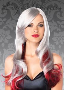 """Grey & Red 24"""" Allure Long Wavy Wig"""