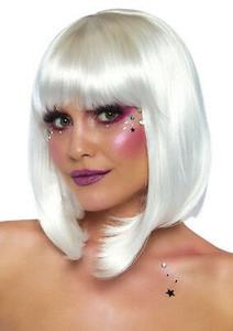 """White 13"""" Pearl Short Natural Bob Wig With Bangs"""