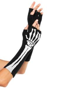 Skeleton Print Long Fingerless Gloves