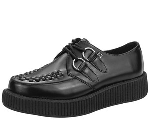 T.U.K. Shoes - V6806 Black Leather Low Sole Creepers